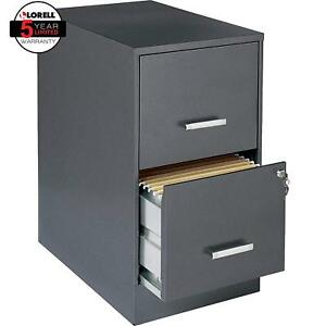 Lorell Office 22 Deep 2 Drawer Letter sized Metal File Cabinet Charcoal 16871