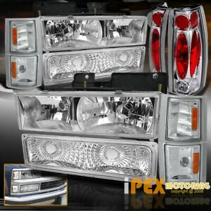 1994 1998 Chevy Silverado Tahoe 10pcs Chrome Headlight Signals Tail Light