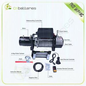 10k Electric Recovery Winch 10000lbs 12v Roller Fairlead For Toyota Land Cruise