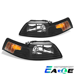 1999 2000 2001 2002 2003 2004 Ford Mustang Factory Style Black Headlights Pair