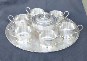 Antique Islamic Persian Isfahan 84 Sterling Silver 8pc Tea Set 1410 Grams