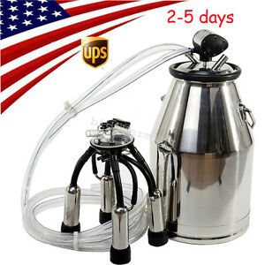 Usa 25l Portable Cow Milker Milking Machine Bucket Stainless Steel Dairy Tank