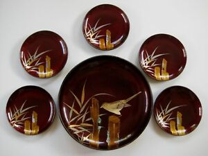 Japanese Hand Painted Lacquer On Wood Bowl Plates Set Circa 1940 60 S