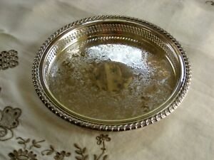 Vintage Wm Rogers Silverplate Reticulated Raised Gallery Tray 9 1 2