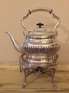 Antique Silver Plate Spirit Kettle Teapot On Stand Burner Lee Wigfull