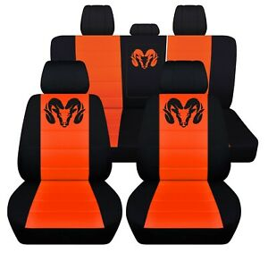 Sedan Seat Covers For A 2007 Dodge Charger In Black And Orange Custome Design