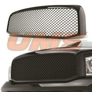 For 2006 2008 Dodge Ram 1500 2500 3500 Glossy Black Mesh Front Hood Grill Grille