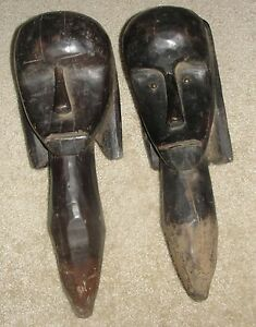 2 African Fang Head Post Long Neck Tribal Reliquary Statue Antique Mask Africa