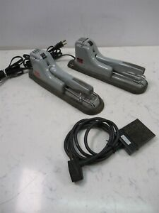 Lot Of 2 Swingline 66p Electric Staplers W Footswitch 32 161 pg Mid Century