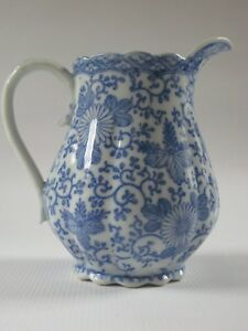 Antique Japanese Blue White Transfer Ware Porcelain Milk Pitcher