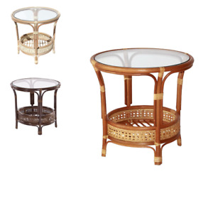 Natural Rattan Wicker Handmade Round Small Coffee Table W glass Top 5 Colors