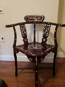 Antique Chinese Rosewood Corner Chair Inlaid Mother Of Pearl