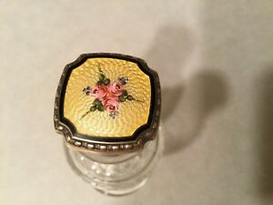 Antique Etched Crystal Perfume Bottle With Yellow Guilloche Stopper