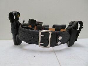Galls Leather Police Security Duty Belt Size 32 With 6 Accessories