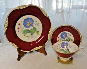 Vtg Crescent Bone China Tea Cup Saucer Cake Plate Trio Hand Painted Simmill