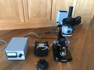 Lot Of Carl Zeiss Trinocular Microscope Parts base Stand Condenser Filters More