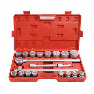 3 4 Drive Socket Set 21pc Standard Reversible Ratchet Wrench Chrome Metric