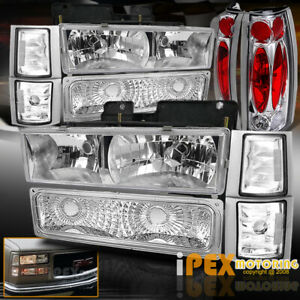 1994 1998 Gmc Sierra Yukon 10pc Chrome Headlight Corner Signals Tail Light