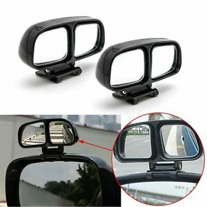 2x Car Stick On Rearview Convex Side Wide Dual Adjust Angle Auxiliary Mirrors