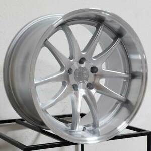 19x9 5 19x11 Aodhan Ds02 Ds2 5x120 22 22 Silver Machined Face Wheels Rims Set 4