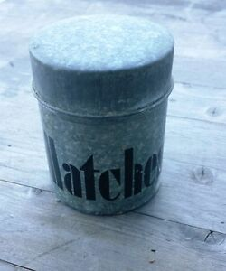 Vintage Lidded Tin For Matches Art Deco Lettering