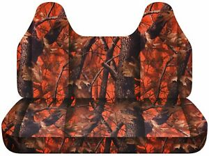 92 04 Ford F150 Truck Seat Covers Orange Real Tree Camo Design With Molded Headr
