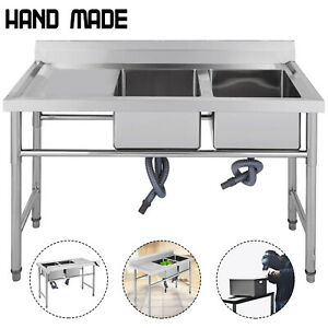 Stainless Steel Sink Commercial Kitchen 2 Compartment W left Platform Handmade