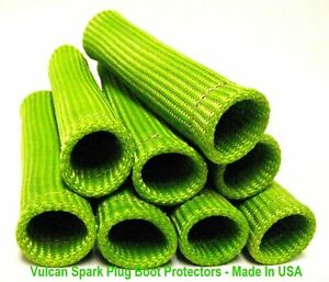 Vulcan Green Spark Plug Boot Thermal Wire Protectors 8 Cyl Made In Usa