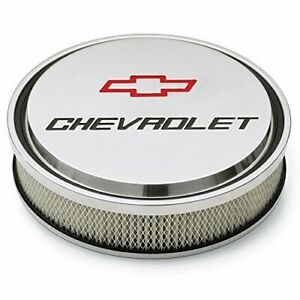 Proform 141 833 Slant Edge Chevy Bowtie 14 Air Cleaner Polished Recessed Logo