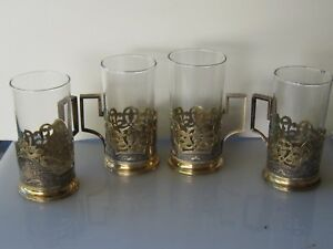 Antique 4 Sterling Silver Gold Ornate Taille D Epargne Enamel Cup Holders