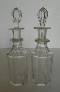 Pair Of Perfume Scent Bottles Hand Blown Cut Glass With Cut Stoppers Antique