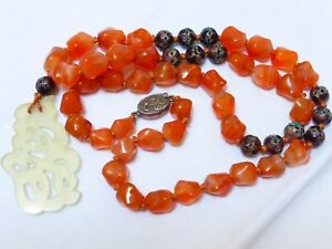 Vintage Antique Chinese Carnelian Sterling Silver Beads Necklace Jade Pendant