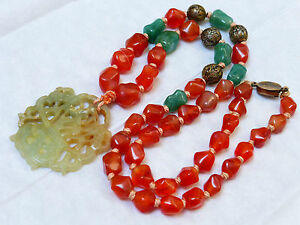 Antique Chinese Carnelian Silver Jade Bead Necklace Pendant Sterling Clasp