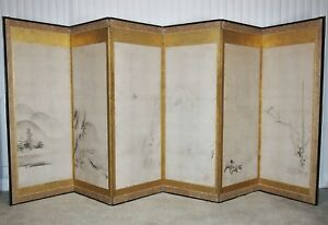 Rare 1500s Antique Japanese Folding Screen Muromachi Zen Sumi E Ink Painting