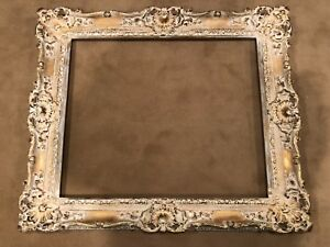Vintage Large White Gold Contemporary European French Baroque Picture Frame E