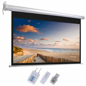 92 16 9 80 X 45 Motorized Projector Screen Projection Remote White Hd 160