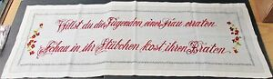 Antique German Linen Lay Over Pillow Sham Or Runner Red Embroidered Motto