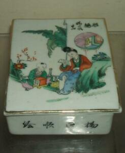 A Vintage Chinese Famille Rose Box And Cover Lady Figure Calligraphy