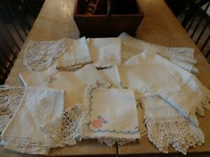 Antique Vintage Lot Linens For Projects Or Use 27 Pieces