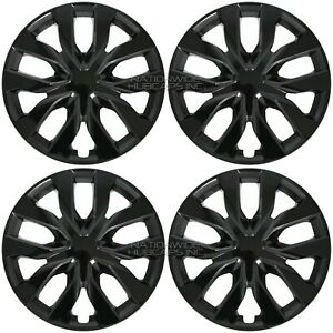 17 Black Set Of 4 Wheel Covers Full Rim Hub Caps Fit R17 Tire Steel Wheels