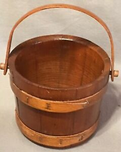 Antique Small Staved Wood Firkin Sugar Bucket 6 Inches Tall No Lid