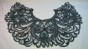 Fancy Antique Victorian Wide Black Lace Collar Shawl
