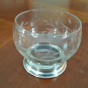 Cut Crystal Nut Candy Dish Bowl Sterling Silver Foot Fast Ship