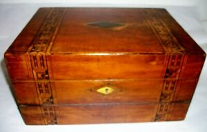 Antique Victorian Walnut Writing Slope Box With Marquetry Inlays 1860s