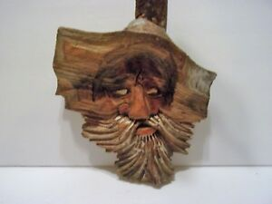 Collectible Old Man Carved Wood Tree Spirit Wall Wizard Wall Hanging