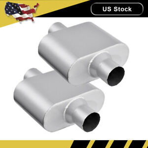 Pair 2 5 Inlet Outlet Muffler Exhaust Silencer Racing Resonator Single Chamber