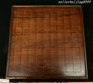 Antique Old Chinese Huali Wood Xiangqi Gobang The Game Of Go Checkerboard Statue