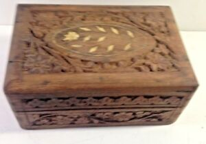 Vtg Box Keepsake Vintage Primitive Wood Storage Carved With Inlay