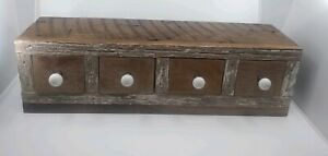 Vintage Apothecary 4 Drawer Spice Cabinet Barn Wood 10 Lbs