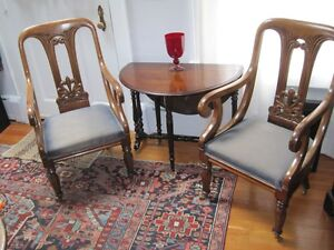 Pair Antique English Walnut Library Armchairs New Upholstery Brass Casters C1870